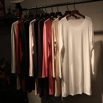 T-shirt White, gray, black, apricot Average size Spring of 2018 Long sleeves Half high collar Self cultivation Regular routine commute cotton 51% (inclusive) - 70% (inclusive) 18-24 years old Korean version Solid color 8515-1