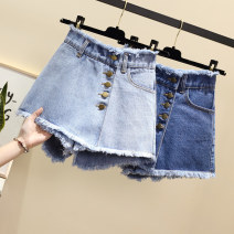 Jeans Summer of 2019 Light blue, dark blue S,M,L,XL,2XL,3XL,4XL,5XL shorts High waist Wide legged trousers Thin money 18-24 years old Worn out, washed, zipper, button, multi pocket B16