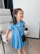 Dress Denim blue female Other / other The suitable height for size 3 or 80 is about 80cm, for size 5 or 90 is about 90cm, for size 7 or 100 is about 100cm, for size 9 or 110 is about 110cm, for size 11 or 120 is about 120cm Cotton 90% other 10% summer Naval style Short sleeve Solid color Cotton denim