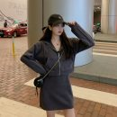 Women's large Spring 2021, autumn 2021 Gray, black L [recommended 100-120 kg], XL [recommended 120-140 kg], 2XL [recommended 140-160 kg], 3XL [recommended 160-180 kg], 4XL [recommended 180-200 kg] Dress Two piece set commute easy moderate Cardigan Long sleeves Solid color Korean version Hood routine