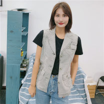 Women's large Spring 2019, autumn 2019, summer 2020 Retro grey vest A36,A38,A40,A42,A44,A46,A48,A50 Vest singleton  street Self cultivation thick Cardigan Sleeveless routine Denim Make old routine pocket Europe and America