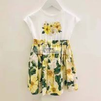 Dress Yellow floral patchwork skirt female Hibiscus hepatica 90cm,100cm,110cm,120cm,130cm,140cm,150cm,160cm,165cm Other 100% other other 2, 3, 4, 5, 6, 7, 8, 9, 10, 11, 12, 13, 14 years old