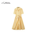 Dress Summer 2021 Cream yellow cream yellow S M L XL Mid length dress singleton  Short sleeve Sweet Elastic waist Solid color Single breasted A-line skirt routine 30-34 years old Type X N. PAIA / enpaya XZGES4563A 91% (inclusive) - 95% (inclusive) silk Countryside