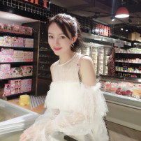 Dress Summer 2020 S,M,L Short skirt singleton  Sweet One word collar High waist Solid color Socket A-line skirt pagoda sleeve 25-29 years old Type H More than 95% Lace princess