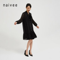 Dress Spring 2021 all black 155/80A 160/84A 165/88A 170/92A Middle-skirt singleton  Long sleeves commute V-neck other A-line skirt routine 25-29 years old Type A Naivie Retro Hollow out asymmetry 212D63588-81 81% (inclusive) - 90% (inclusive) Cellulose acetate Acetate 84% polyester 16%