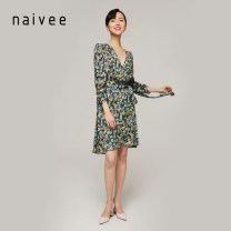 Dress Spring 2021 Midnight blue 155/80A 160/84A 165/88A 170/92A Mid length dress singleton  Long sleeves commute V-neck Broken flowers other other puff sleeve 25-29 years old Type X Naivie Retro 212A69315-67 More than 95% other Viscose (viscose) 100%