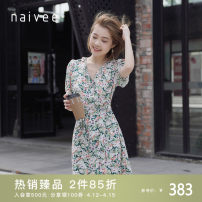 Dress Summer 2021 Grass green 155/80A/S 160/84A/M 165/88A/L 170/92A/XL Middle-skirt singleton  Short sleeve commute V-neck High waist zipper A-line skirt puff sleeve 25-29 years old Type X Naivie Ol style printing 204T68114-75 More than 95% other other Viscose (viscose) 100%
