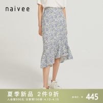 skirt Spring 2021 155/62A 160/66A 165/70A 170/74A blue lotus Mid length dress commute High waist Ruffle Skirt Type H 25-29 years old 213S72321-53 More than 95% Naivie Viscose Ruffle printing Ol style Viscose (viscose) 100% Pure e-commerce (online only)