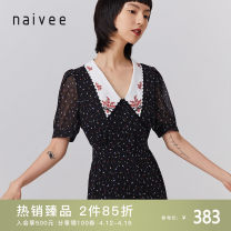 Dress Summer 2020 Black black spare 155/80A/S 160/84A/M 165/88A/L 170/92A/XL Mid length dress singleton  Short sleeve commute V-neck High waist Single breasted A-line skirt routine 25-29 years old Type X Naivie Ol style Printed button 206P65228-81 More than 95% Chiffon polyester fiber
