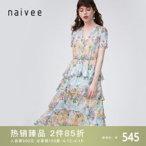 Dress Summer 2020 Color mixing 155/80A/S 160/84A/M 165/88A/L 170/92A/XL longuette singleton  Short sleeve commute V-neck High waist Socket Cake skirt routine 25-29 years old Type A Naivie Ol style Ruffle printing 204Q62324-99 More than 95% polyester fiber Polyester 100% Pure e-commerce (online only)