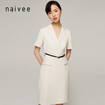 Dress Spring 2021 Milky white and pure black 155/80A 160/84A 165/88A 170/92A Mid length dress singleton  elbow sleeve commute V-neck Solid color other other routine 25-29 years old Type X Naivie Simplicity 212A62898-22 51% (inclusive) - 70% (inclusive) polyester fiber