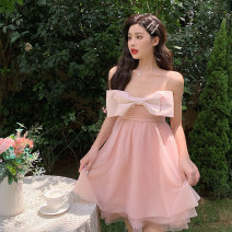 Dress Summer 2020 Pink [high end customization], black [high end customization] S, M Short skirt singleton  Sleeveless street Pile collar High waist Solid color Princess Dress other Others 18-24 years old Type A Polyester fabric other other