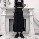 skirt Summer 2021 S,M,L,XL,2XL black Mid length dress Sweet Natural waist Ruffle Skirt Solid color Type A 51% (inclusive) - 70% (inclusive) other other Stitching, ruffles