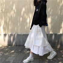 skirt Autumn of 2019 Average size Black, white Versatile High waist Solid color 51% (inclusive) - 70% (inclusive)