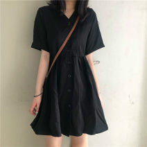 Dress Summer 2020 black Average size Short sleeve Solid color Single breasted 51% (inclusive) - 70% (inclusive)