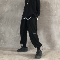 Casual pants Black, dark grey M, L Winter of 2019 trousers Wide leg pants High waist original routine 51% (inclusive) - 70% (inclusive)