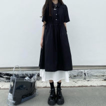 Dress Summer 2020 Picture color short sleeve dress, black long sleeve dress M,L,XL,2XL,3XL,4XL Mid length dress Fake two pieces Short sleeve Sweet Polo collar Socket routine 51% (inclusive) - 70% (inclusive) other other