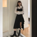 Dress Spring 2021 White shirt, suspender dress S,M,L Mid length dress Two piece set Long sleeves stand collar Solid color other routine 51% (inclusive) - 70% (inclusive) other