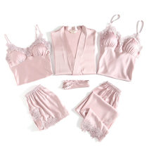 Pajamas / housewear set female Other / other M,L,XL Polyester (polyester) Long sleeves sexy pajamas summer Thin money V-neck Solid color trousers double-breasted youth rubber string 81% (inclusive) - 95% (inclusive) silk lace Short skirt
