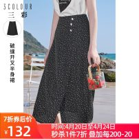 skirt Summer 2021 160/68A/M,165/72A/L,170/76A/XL,155/64A/S,175/80A/2XL black Mid length dress High waist A-line skirt Dot Type A 25-29 years old D362G1002Q40 More than 95% Tricolor polyester fiber