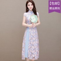 cheongsam Spring 2021 M,L,XL,XXL,XXXL Violet, Magnolia Short sleeve Single cheongsam Retro High slit daily Straight front Decor 18-25 years old Embroidery polyester fiber 96% and above