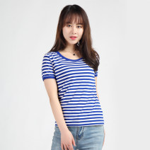 T-shirt Summer 2020 Short sleeve Crew neck Self cultivation Regular routine Sweet cotton 96% and above 18-24 years old youth Thick horizontal stripe Splice, threaded college