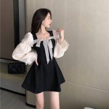 Dress Spring 2021 black S,M,L,XL,2XL Short skirt singleton  Long sleeves square neck A-line skirt puff sleeve Coquettish girl Bowknot, lace up, stitching
