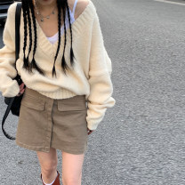 skirt Spring 2021 S,M,L khaki , Khaki second batch Short skirt commute High waist A-line skirt Solid color Type A 18-24 years old K210110 More than 95% brocade Other / other cotton Korean version