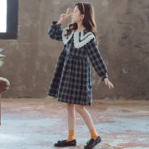 Dress Plaid skirt female Kapok Kor 110cm,120cm,130cm,140cm,150cm,160cm,165cm spring and autumn Korean version Long sleeves lattice Cotton blended fabric A-line skirt Class B Five, six, seven, eight, nine, ten, eleven, twelve, thirteen, fourteen Chinese Mainland