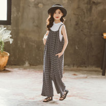 trousers Kapok Kor female 120cm,130cm,140cm,150cm,160cm,165cm White, stripe, white + stripe summer trousers Korean version There are models in the real shooting rompers Leather belt High waist Cotton blended fabric Don't open the crotch Cotton 60% polyester 40% K21040704 Class B Chinese Mainland