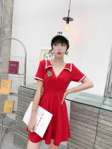 Dress Summer 2021 Black, red, white S,M,L,XL Short skirt singleton  Short sleeve commute V-neck middle-waisted Solid color zipper A-line skirt routine Others 18-24 years old Type A lady Stitching, open back, pleating, lace up, Ruffle 31% (inclusive) - 50% (inclusive) other cotton