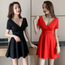 Dress Summer 2021 Black, red S,M,L,XL,2XL,3XL Short skirt singleton  Short sleeve commute V-neck middle-waisted Solid color zipper Princess Dress other Others 18-24 years old Type A Korean version backless 81% (inclusive) - 90% (inclusive) brocade polyester fiber