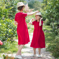 Dress gules female Happy to go 90cm spot, 100cm spot, 110cm spot, 120cm spot, 130cm spot, 140cm spot, 150cm spot, mom s spot, mom m spot, mom l spot, mom XL spot Flax 55% cotton 45% summer leisure time Solid color Cotton and hemp BD-140R Class B