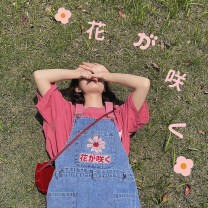 Dress Summer 2020 Denim blue S, M Middle-skirt singleton  Sleeveless Sweet other High waist Cartoon animation other A-line skirt other straps 18-24 years old Embroidery cotton