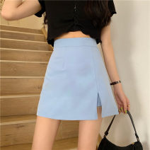skirt Spring 2021 S,M,L,XL,2XL,3XL,4XL Black, blue, pink, fruit green Short skirt commute High waist A-line skirt Solid color Type A 18-24 years old 31% (inclusive) - 50% (inclusive) other polyester fiber Three dimensional decoration