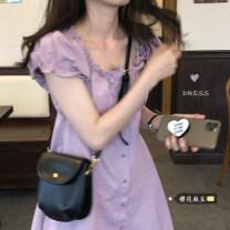 Dress Summer 2021 Purple, black Average size Mid length dress singleton  Short sleeve commute Others 18-24 years old Type A Korean version