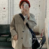 short coat Autumn 2020 Average size Red Plaid suit, khaki plaid suit, Khaki Skirt Long sleeves Medium length routine singleton  easy Versatile tailored collar lattice 18-24 years old Other / other