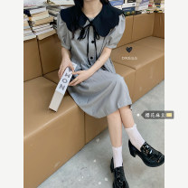 Dress Summer 2021 Gray, black Average size Short skirt singleton  Long sleeves commute Hood Solid color zipper routine Others 18-24 years old Type A literature pocket