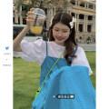 Fashion suit Summer 2021 Average size White shirt, blue suspender skirt 18-25 years old