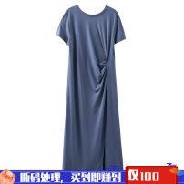 Dress Summer 2020 M, L Mid length dress Short sleeve Crew neck Loose waist routine Type H 81% (inclusive) - 90% (inclusive) cotton