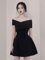 Dress Spring 2021 Red, black S,M,L,XL Short skirt singleton  commute One word collar High waist Solid color zipper A-line skirt Oblique shoulder Type A Other / other Simplicity Open back, stitching, zipper, resin fixation 51% (inclusive) - 70% (inclusive) other polyester fiber
