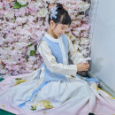 National costume / stage costume Autumn of 2019 Cross collar top spot, pink Bijia spot, skirt spot, blue Bijia spot 100,120,140,80 The flower Dynasty
