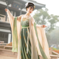 Hanfu 81% (inclusive) - 90% (inclusive) Spring 2021 One batch of 4-piece set will be issued from 4.20 to 5.5, and two batches will be issued from 4-piece set to 5.5 to 4-piece set, including (sling + big sleeve shirt + waist skirt + drape silk) S. M, l, average size polyester fiber