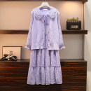 Women's large Spring 2021 L [90-115 Jin recommended], XL [115-135 Jin recommended], 2XL [135-155 Jin recommended], 3XL [155-175 Jin recommended], 4XL [175-200 Jin recommended] Dress Two piece set commute easy moderate Socket Long sleeves Solid color Korean version Polo collar Medium length other