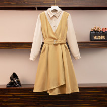 Women's large Autumn 2020 Picture color Large XL, large L, large 2XL, large 3XL, large 4XL Dress Fake two pieces commute easy moderate Socket Long sleeves Korean version polyester Three dimensional cutting