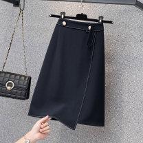 Women's large Summer 2021 navy blue skirt singleton  commute easy thin Socket Solid color Korean version polyester fiber Three dimensional cutting zipper 51% (inclusive) - 70% (inclusive) Short skirt