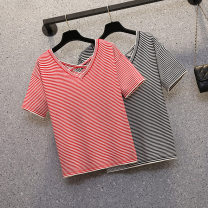 Women's large Summer 2021 Red stripe, black stripe Large XL, large XXL, large XXL, large L T-shirt singleton  commute easy thin Socket Short sleeve stripe Korean version V-neck routine polyester Collage routine Three dimensional decoration 81% (inclusive) - 90% (inclusive)