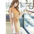 Dress Summer 2017 Camel S,M,L,XL Short skirt Fake two pieces Sleeveless Sweet Crew neck High waist Solid color Socket Princess Dress Princess sleeve Others 25-29 years old Type H DOWISIC Splicing, bandage 81% (inclusive) - 90% (inclusive) other cotton princess
