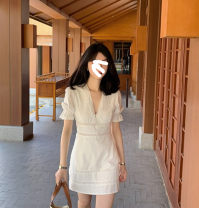 Dress Summer 2021 white S,M,L singleton  Short sleeve commute V-neck High waist Solid color Single breasted A-line skirt routine Others 18-24 years old Type A Other / other More than 95% other