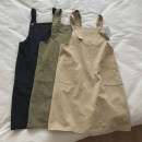 Dress Summer 2020 Khaki, army green, black S,M,L Middle-skirt singleton  Sleeveless street other High waist Solid color other other other Type A More than 95% other cotton Sports & Leisure